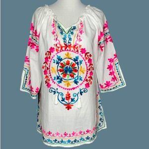 Shoreline Embroidered 3/4 Sleeve Tunic- NWT!!